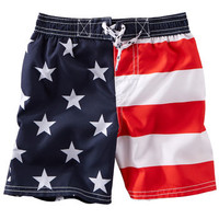 Flag Print Swim Trunks