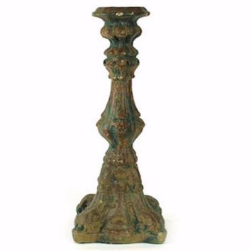 Large Distressed Pillar Candle Holder