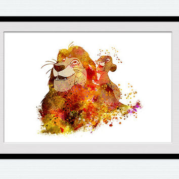 Mufasa And Simba Poster Disney Watercolor Print Lion King Decor The Colorful Home