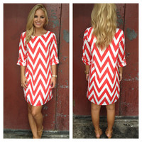 Red & White Chevron Print Shift Dress