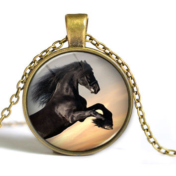 2PCS Hot 2016 fashion horse retro necklace short necklace sweater chain  Y015 (Only 1 Free Per Order !)