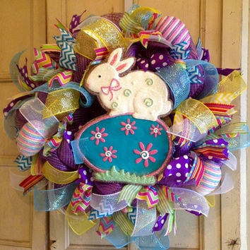 Raz Easter Wreath, Easter Decomesh Wreath, Easter Wreath, Easter Bunny Wreath, Raz Easter Bunny, Spring Wreath
