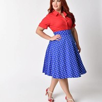 Plus Size Royal Blue & White Polka Dot High Waist Swing Skirt