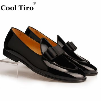 Cool Tiro Black Patent leather Loafers Men Slippers Bow Tie Moccasins