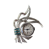Rhineston Gotham Watch Pin Wtih Turquoise Stones Mechanical Watch in Working Condition