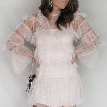 Speechless Blush Mesh Ruffle Mini Dress