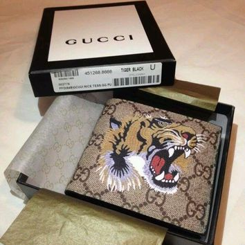 NWT Men Gucci GG Monogram Leather Wallet
