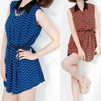 Wave-like Pattern Sleeveless Chiffon Shirt