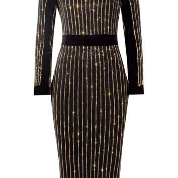 Balmain - Embellished velvet midi dress