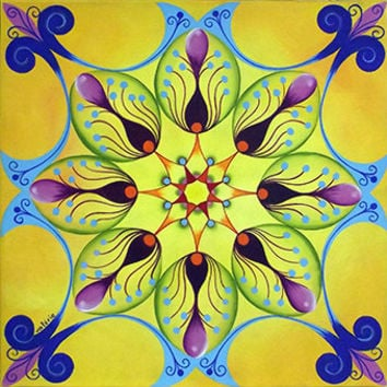 Growth Mandala - Sun Mandala - Yellow Mandala - Light Mandala - bright Mandala - Canvas Mandala - Spiritual Art - Home decor - Wall Decor