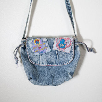 Vintage Pee Wee Herman Bag | Cross Body 80s Handbag Denim Purse Acid Washed Denim Blue Jean Bag 80s Bag 80s Purse 80s Small Denim Purse Boho