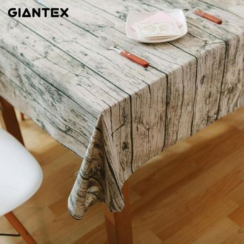 GIANTEX Wood Grain Pattern Decorative Table Cloth Cotton Linen Tablecloth Dining Table Cover For Kitchen Home Decor U1098