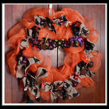Orange and Black Halloween Deco Mesh Wreath - Handmade with Halloween sign, Witch Hats, and Broom sticks with Burlap ribbon with lights