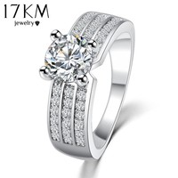 2015 New Simple Style Finger Rings Gold Platinum Plated Zircon Fashion Jewelry Crystal Ring Anniversary Wedding Jewelry