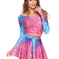 Womens Glitter Mirror Long Sleeve Crop Top