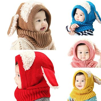Cute Baby Rabbit Ears Knitted Hat Infant Toddler Winter Warm Hat Beanies Cap with Hooded Scarf Earflap Newborn Kids Hat