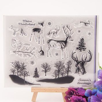 Scrapbooking clear silicone stamp deer tree wolf, wild animal birds set, winter life craft supply
