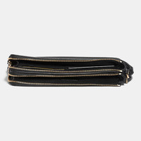 Double Zip Wallet in Polished Pebble Leather