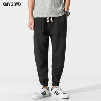 Chinese wind men's cotton and linen casual pants loose retro halton pants large size thin section of pure color radish pants