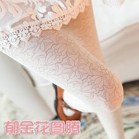 W104 new arrival Spring/fall tights turmeric lace Totem flower stocking pantyhose high quality women lady tights