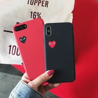Love CDG Play Comme des Garcons Hard Matte Protect cover case for iphone 6 6S S plus 7 7plus 8 8plus X XR XS Max  phone cases