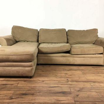 Pottery Barn Suede Upholstered Sectional Sofa