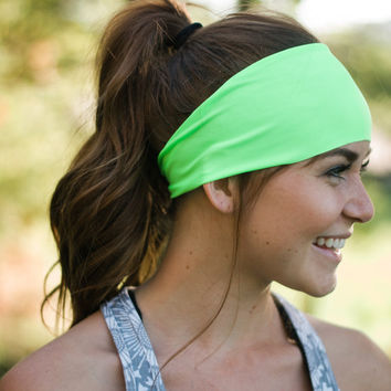 ON SALE Neon Green Headband, Fitness gear, Running, Crossfit, Athletic gear, Exercise headband, Casual, Womens & Little Girls