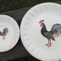Vintage Rooster Tin Plates--Mid Century--4 Small 4 Tiny Plates--Play Toy Dishes--Country Farmhouse Kitchen--Shabby Cottage Chic Chippy