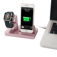 Metallic Texture PC Holder for iPhone 7 6s 6 5s 5 Charging Dock Station Cradle for Apple Watch 38mm 42 mm Desktop Charge Stand