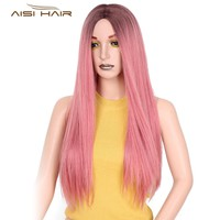 T's a wig Long Ombre Straight Wigs 26 inch Mixed Brown and Pink Color Synthetic Wig for Women High Temperature Fiber