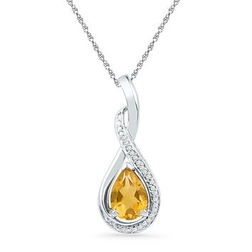 Sterling Silver Women's Oval Lab-Created Citrine Solitaire Diamond Frame Twist Pendant 1-1-6 Cttw - FREE Shipping (US/CAN)
