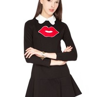 Kiss black dress - Cute kiss dress - Lipstick party dress -$68