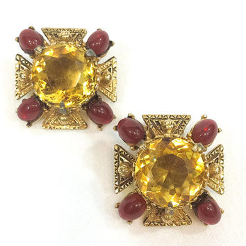 Citrine & Gold Earrings, Florenza Maltese Cross Renaissance Earrings, Red Beads Yellow Cabochon, 1950s Vintage Holiday Statement Jewelry