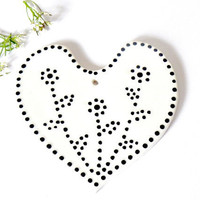 White Porcelain Heart Ceramic Ornaments with White Dots, Wedding Decoration