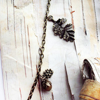 Autum Harvest Charm Necklace Brass Acorn Leaf and Pine cCne Acorns Nuts Fall Harvest