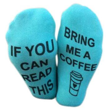 If You Can Read This Bring Me A Coffee Printed Socks - Low Cut Ankle Socks