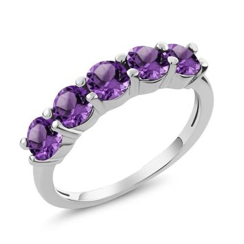 1.25 Ct Round Purple Amethyst 925 Sterling Silver 5-Stone Band Ring