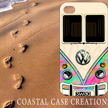 Apple iPhone 4 4G 4S 5G Protective Hard Plastic or Rubber Cell Phone Case Cover Trendy Colorful Rainbow VW Bus Design