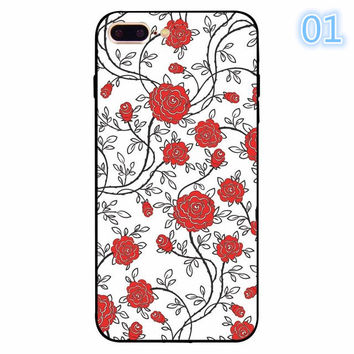 2017 Funny Luxury Colorful Retro Floral Red Rose Flower Abstract Print For iphone 5 5s se 6 6s 7 Plus Clear Back Cover Coque Funda -0405
