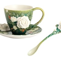 Van Gogh White Roses Flower Tea Set