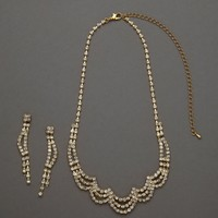 Scalloped Design Necklace and Earring Set - David's Bridal