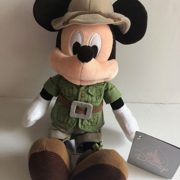 Disney Parks 9 inc Mickey Mouse Safari Plush New with Tags
