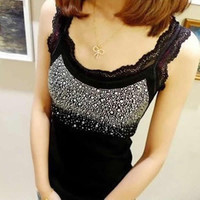 D19 HOT New Fashion Women Elegant Lace Collar Bling Tank Tops Vest Sleeveless T-shirt free shipping
