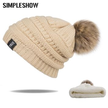 New Fashion Winter Hat Woman Skullies Beanies Warm Hat Pom Poms Girls Fluffy Ball Caps Female Knitted Pompoms Casual Unisex Cap