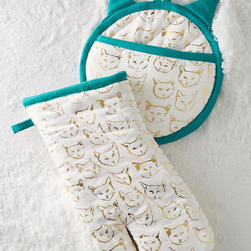 Metallic Cat Study Pot Holder