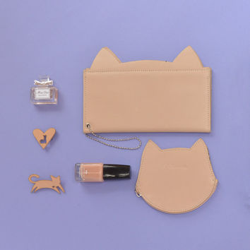 Cat Wallet and Coin purde Unique Design Kitten Leather Oatmeal Purse Evening Women's Clutch Bag Custom Monogram Gifts for pets & pet lovers