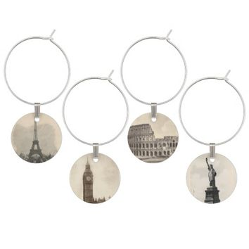 Vintage Travel Wine Glass Charm Set