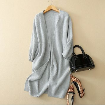 2018 100% Pure Cashmere Cardigan Women Long Thick Knitwear Ladies Winter Coat Solid Open Stitch Warm Plus Size Sweater Cardigans