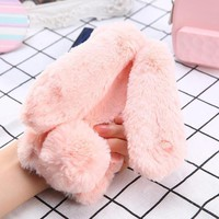 Fashion Fluffy Winter Soft Rabbit Hair Phone Cases