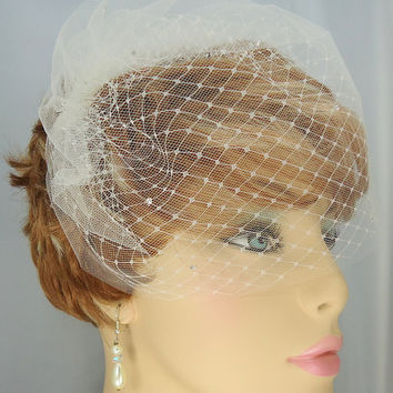 "Double Russian Style Birdcage Blusher 9"" Scattered Swarovski Crystals Bridal Veil"